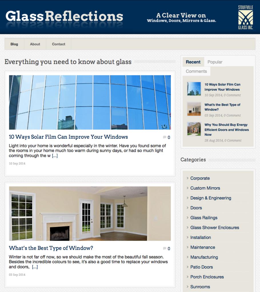 Stouffville Glass Blog - Screenshot