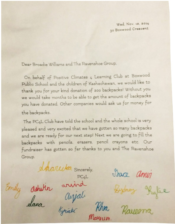 Boxwood thank you letter to Ravenshoe Group