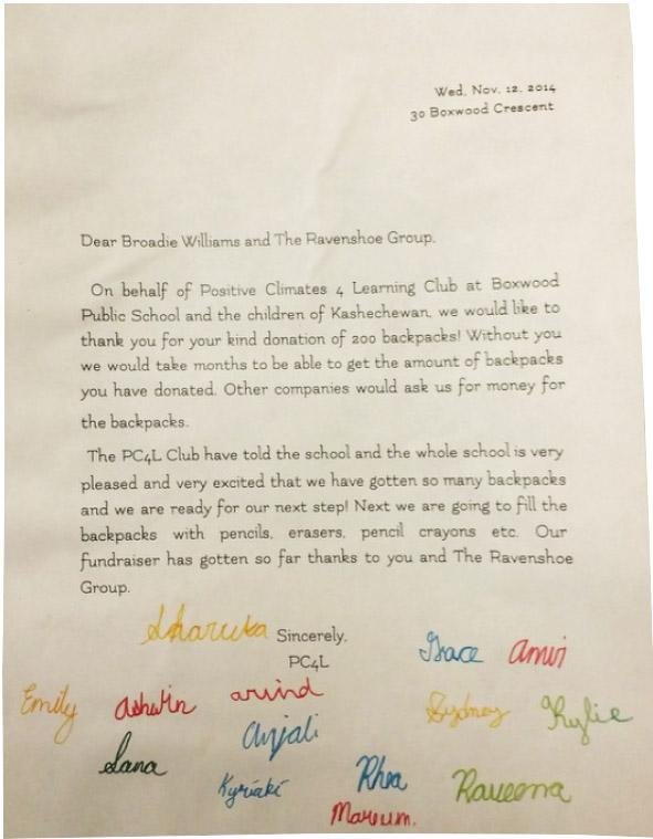 Boxwood thank you letter to Ravenshoe Group