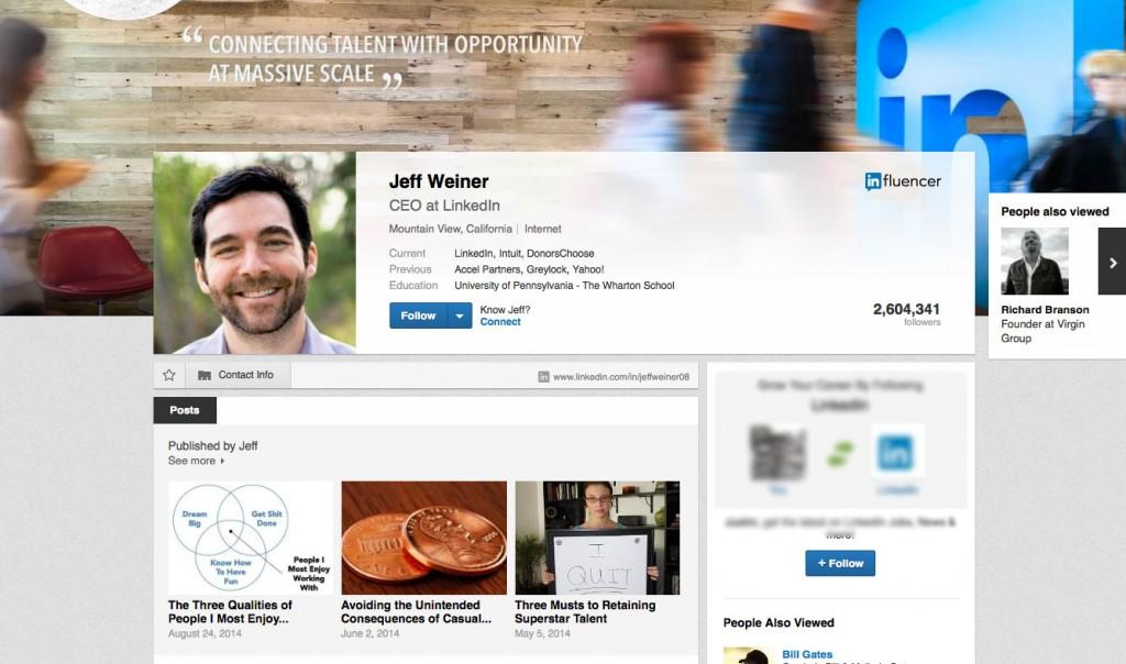 Linkedin Profile Jeff Weiner