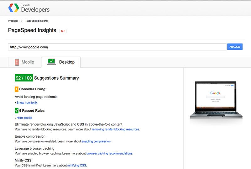 Fast Load, Google speed test